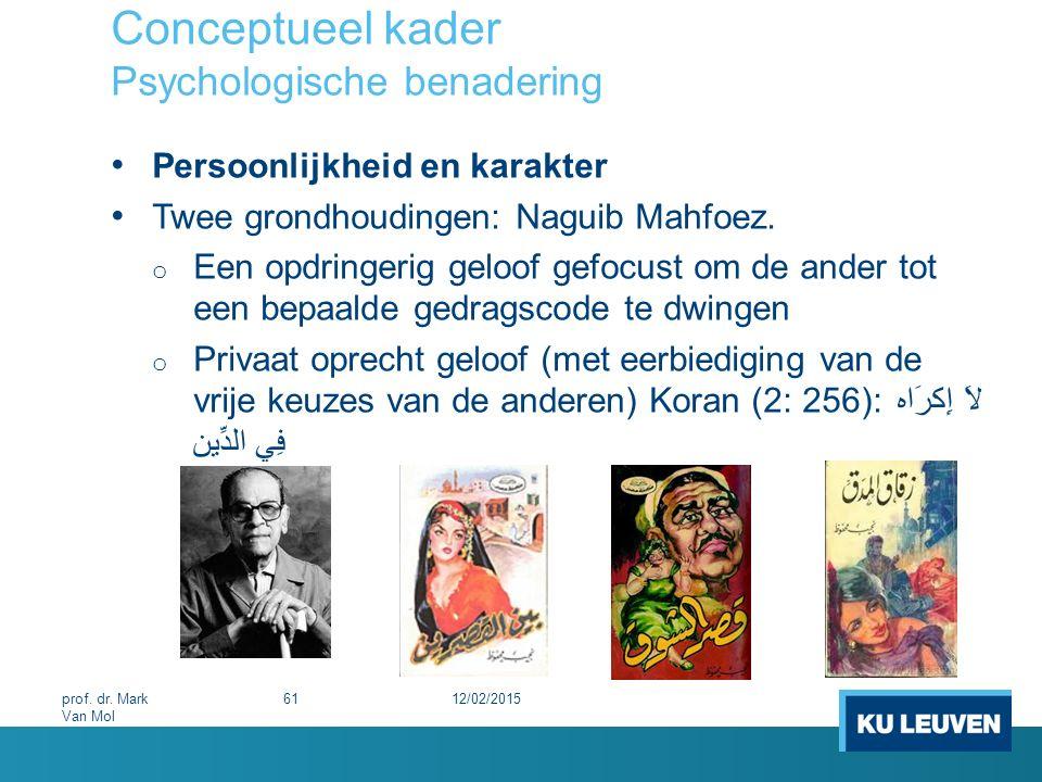 Conceptueel kader Psychologische benadering Persoonlijkheid en karakter Twee grondhoudingen: Naguib Mahfoez. o Een opdringerig geloof gefocust om de a