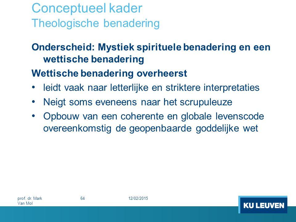 Conceptueel kader Theologische benadering Onderscheid: Mystiek spirituele benadering en een wettische benadering Wettische benadering overheerst leidt