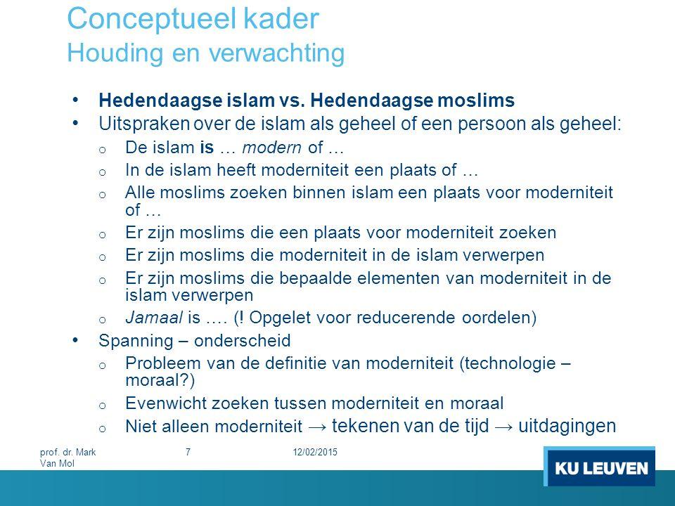 Conceptueel kader Wetenschappelijke benadering Heterogene wereld: 3 Islamitische sekten in verschillende streken en van verschillende strekkingen 12/02/2015 28 prof.