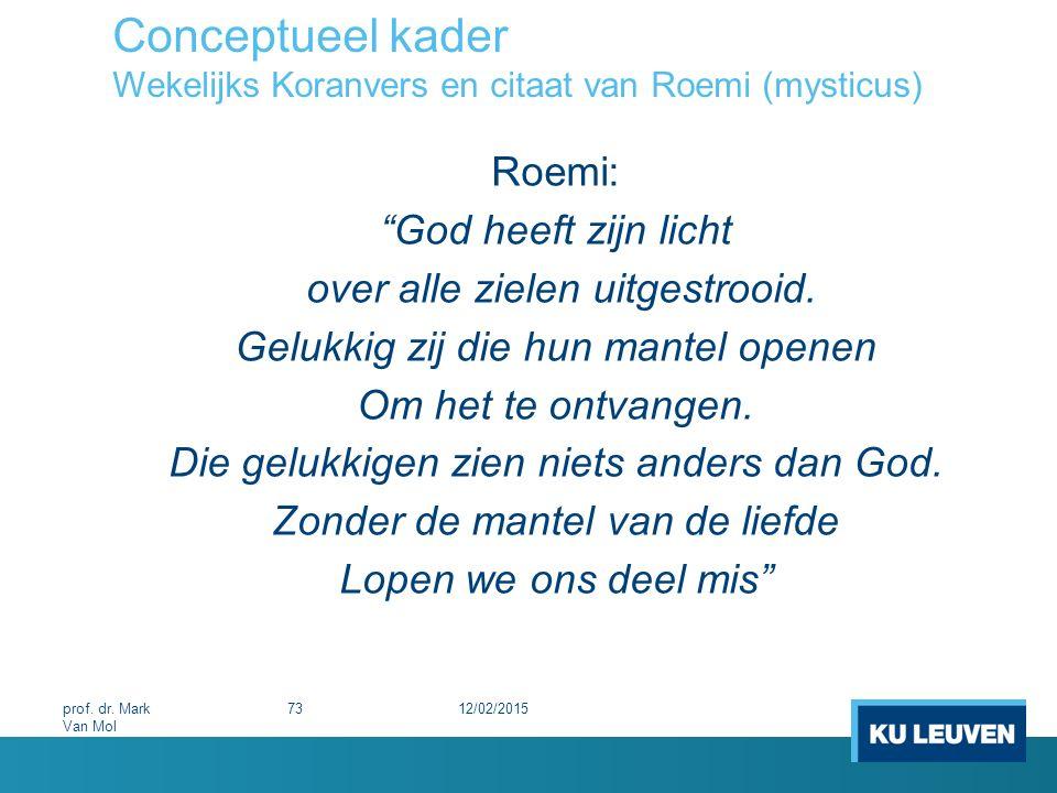 """Conceptueel kader Wekelijks Koranvers en citaat van Roemi (mysticus) Roemi: """"God heeft zijn licht over alle zielen uitgestrooid. Gelukkig zij die hun"""