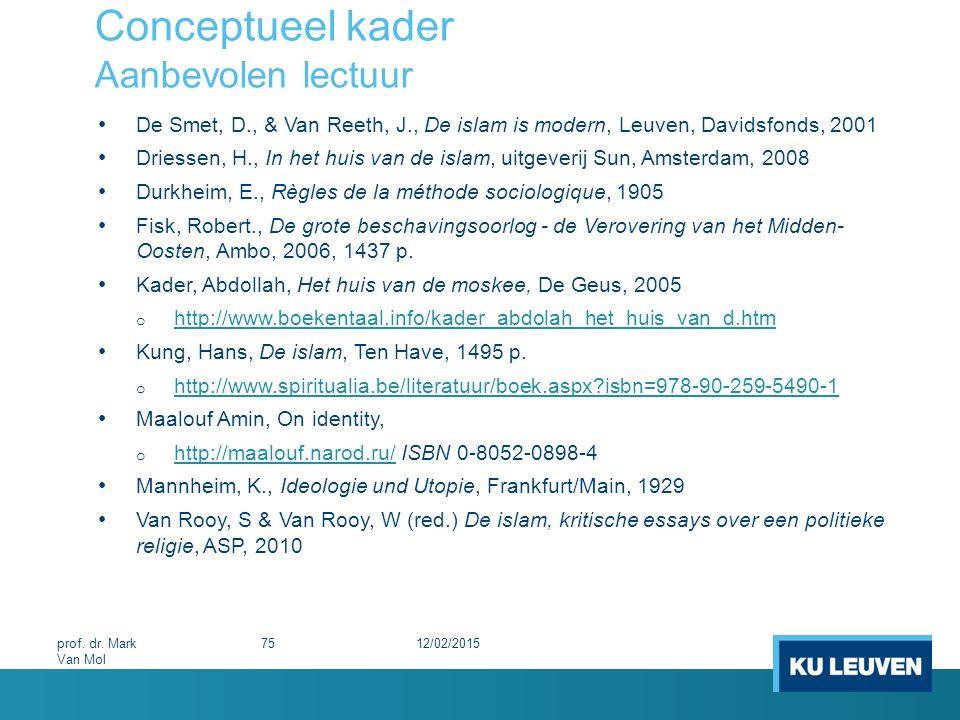 Conceptueel kader Aanbevolen lectuur De Smet, D., & Van Reeth, J., De islam is modern, Leuven, Davidsfonds, 2001 Driessen, H., In het huis van de isla
