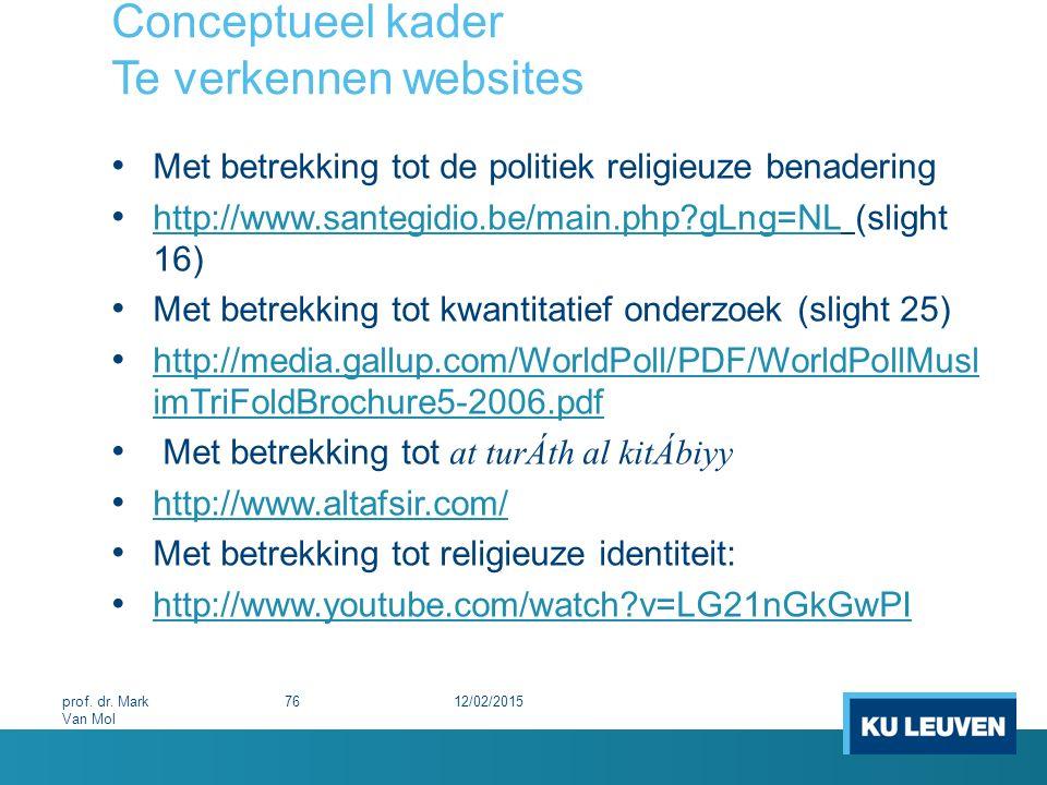 Conceptueel kader Te verkennen websites Met betrekking tot de politiek religieuze benadering http://www.santegidio.be/main.php?gLng=NL (slight 16) htt