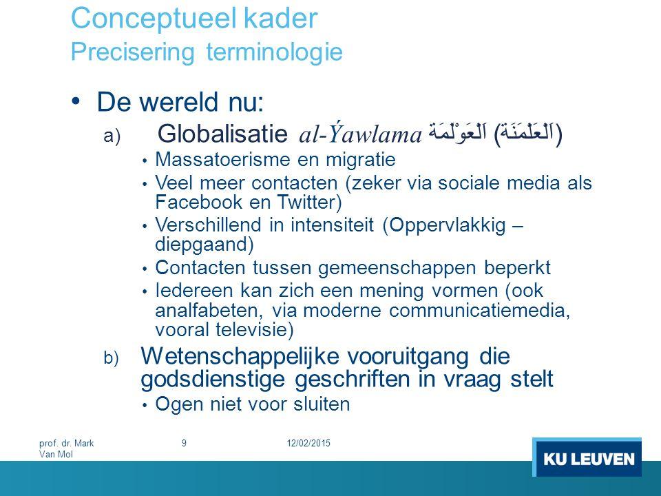 Conceptueel kader Precisering terminologie De wereld nu: a) Globalisatie al-Ýawlama اَلْعَوْلَمَة (اَلْعَلْمَنَة) Massatoerisme en migratie Veel meer