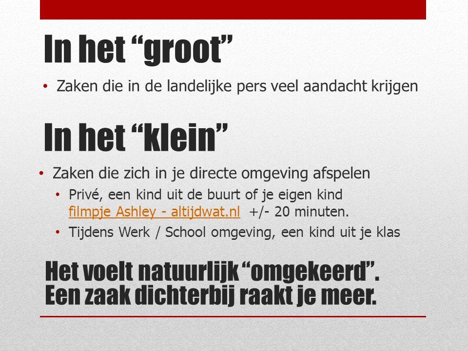 In het klein Zaken die in de landelijke pers veel aandacht krijgen In het groot Zaken die zich in je directe omgeving afspelen Privé, een kind uit de buurt of je eigen kind filmpje Ashley - altijdwat.nl +/- 20 minuten.