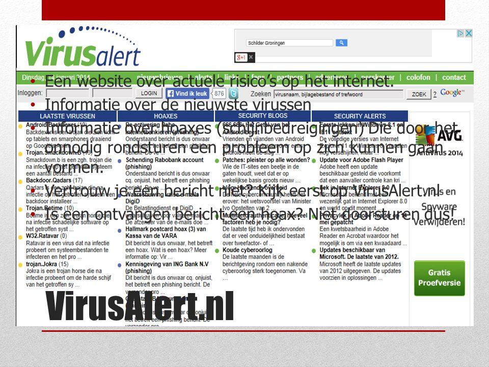 VirusAlert.nl Een website over actuele risico's op het internet.