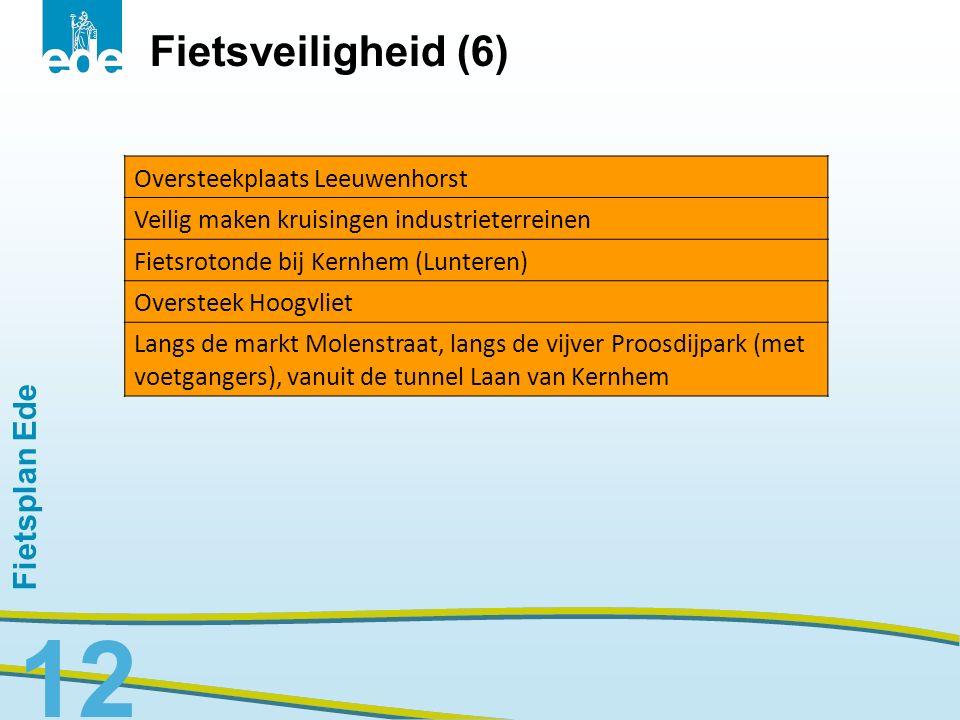 Fietsplan Ede 12 Oversteekplaats Leeuwenhorst Veilig maken kruisingen industrieterreinen Fietsrotonde bij Kernhem (Lunteren) Oversteek Hoogvliet Langs
