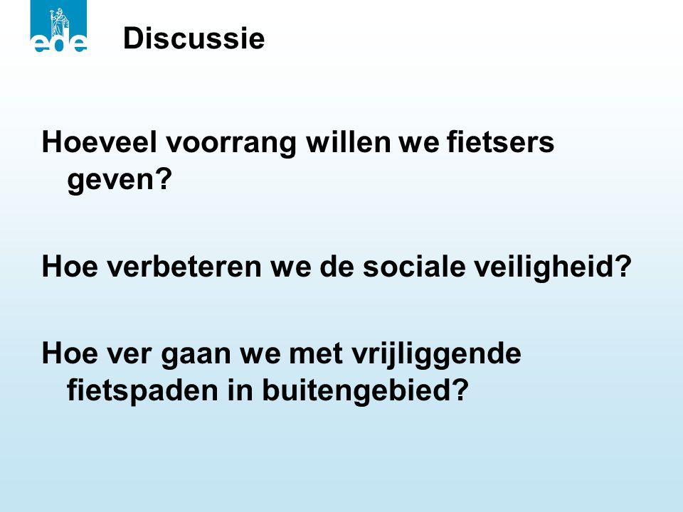 Discussie Hoeveel voorrang willen we fietsers geven? Hoe verbeteren we de sociale veiligheid? Hoe ver gaan we met vrijliggende fietspaden in buitengeb