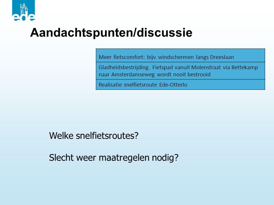Aandachtspunten/discussie Meer fietscomfort: bijv. windschermen langs Dreeslaan Gladheidsbestrijding. Fietspad vanuit Molenstraat via Bettekamp naar A