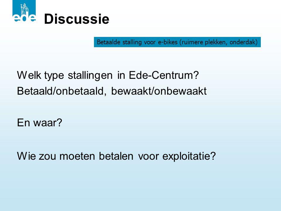 Discussie Welk type stallingen in Ede-Centrum? Betaald/onbetaald, bewaakt/onbewaakt En waar? Wie zou moeten betalen voor exploitatie? Betaalde stallin