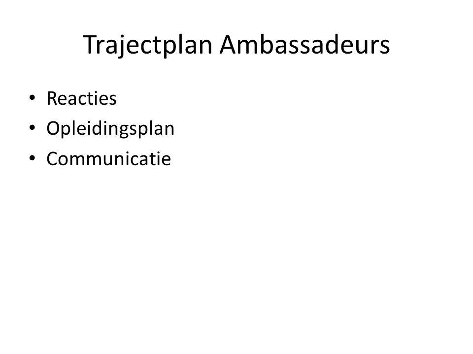 Trajectplan Ambassadeurs Reacties Opleidingsplan Communicatie