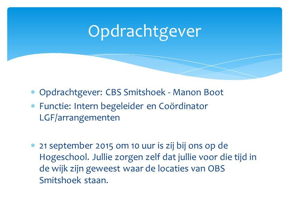  Opdrachtgever: CBS Smitshoek - Manon Boot  Functie: Intern begeleider en Coördinator LGF/arrangementen  21 september 2015 om 10 uur is zij bij ons