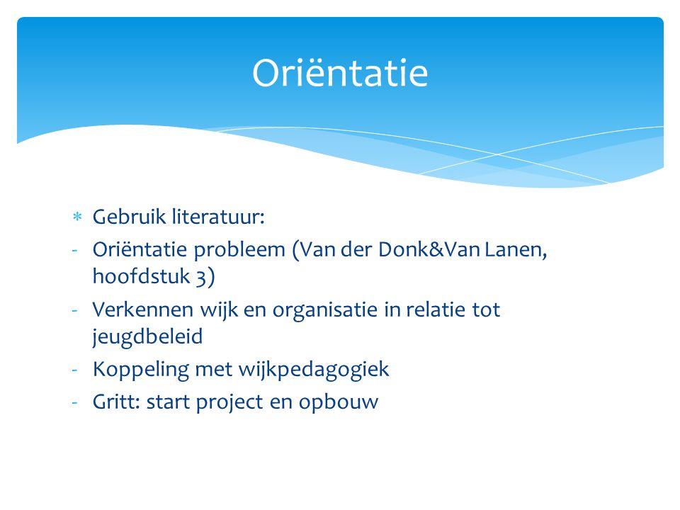  Gebruik literatuur: -Oriëntatie probleem (Van der Donk&Van Lanen, hoofdstuk 3) -Verkennen wijk en organisatie in relatie tot jeugdbeleid -Koppeling