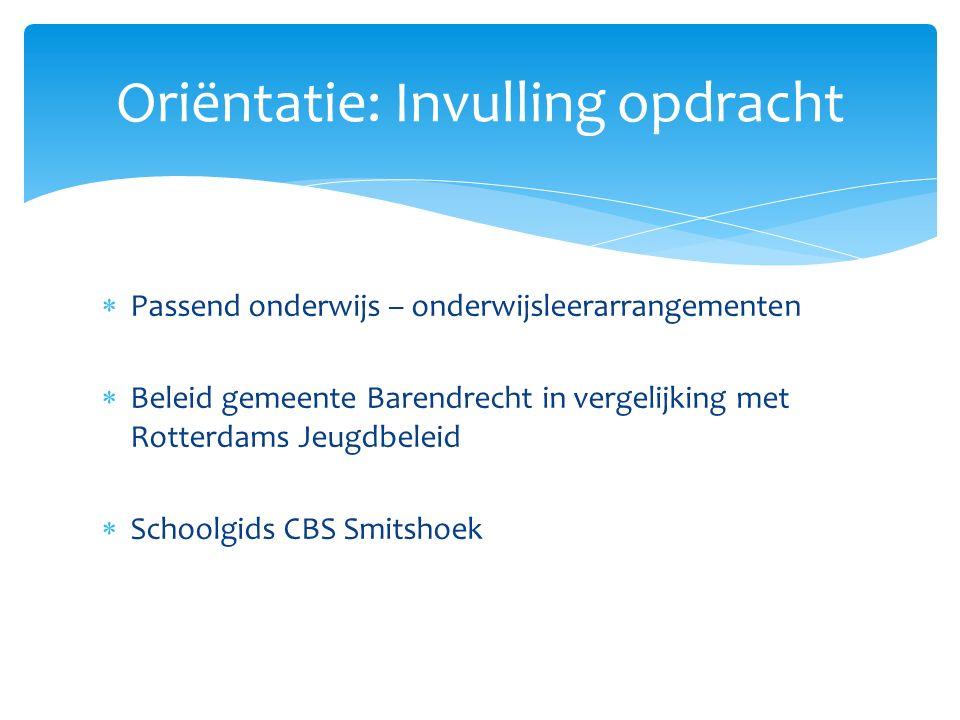  Passend onderwijs – onderwijsleerarrangementen  Beleid gemeente Barendrecht in vergelijking met Rotterdams Jeugdbeleid  Schoolgids CBS Smitshoek O
