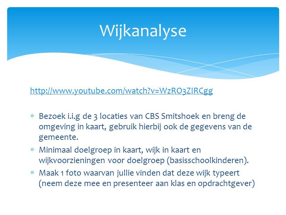 http://www.youtube.com/watch?v=WzRO3ZIRCgg  Bezoek i.i.g de 3 locaties van CBS Smitshoek en breng de omgeving in kaart, gebruik hierbij ook de gegeve