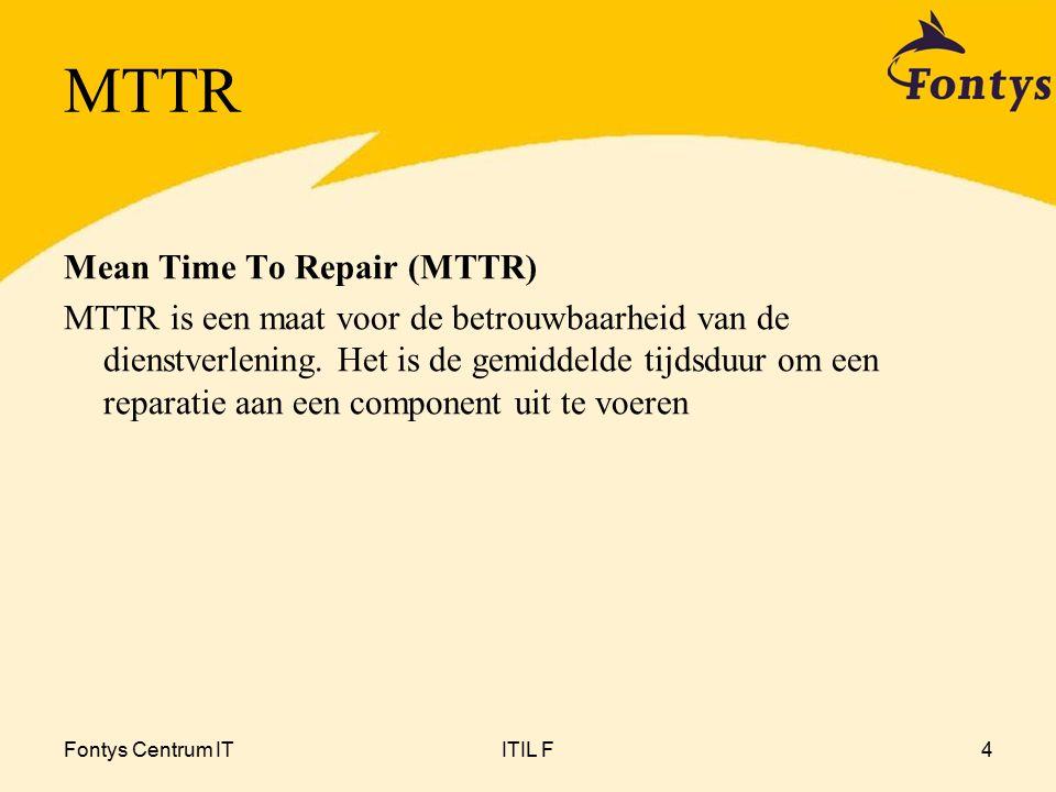 Fontys Centrum ITITIL F5 MTBF en MTTR Beschikbaarheid = (MTBF / (MTBF + MTTR)) x 100% Bijvoorbeeld de applicatie die 2 maal vastloopt per week.