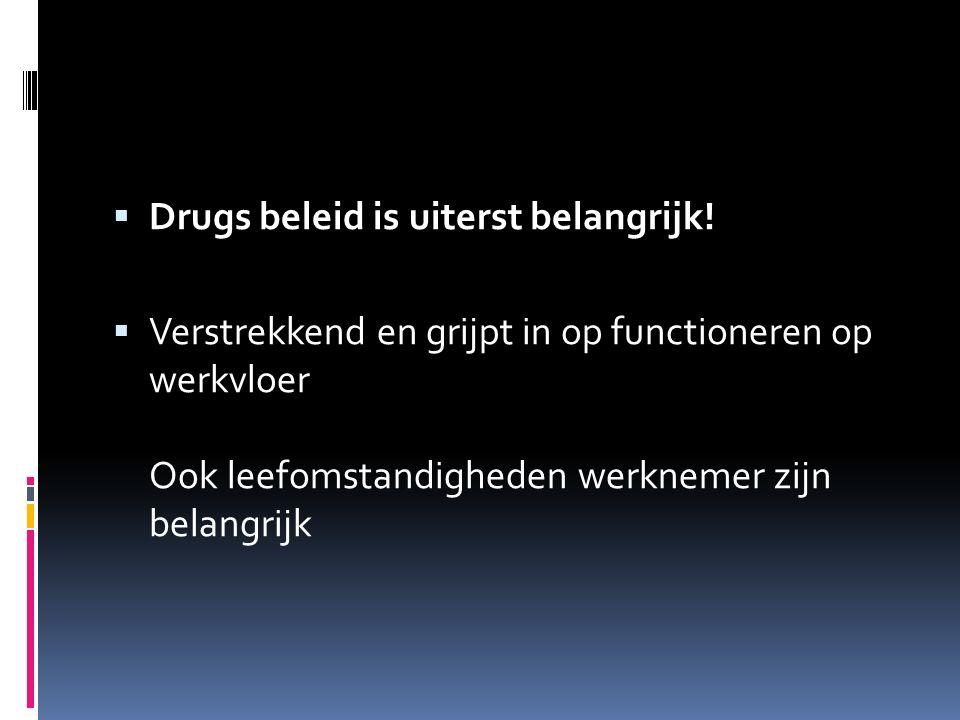  Drugs beleid is uiterst belangrijk!  Verstrekkend en grijpt in op functioneren op werkvloer Ook leefomstandigheden werknemer zijn belangrijk