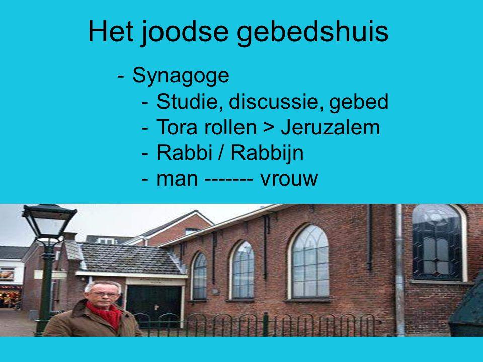 Het joodse gebedshuis -Synagoge -Studie, discussie, gebed -Tora rollen > Jeruzalem -Rabbi / Rabbijn -man ------- vrouw