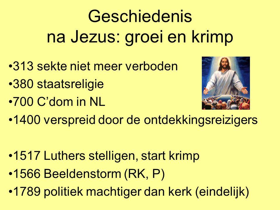Geschiedenis na Jezus: groei en krimp 313 sekte niet meer verboden 380 staatsreligie 700 C'dom in NL 1400 verspreid door de ontdekkingsreizigers 1517