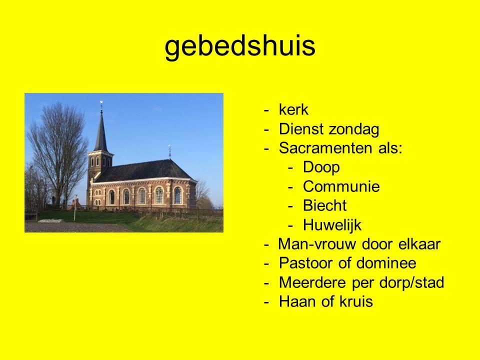 gebedshuis -kerk -Dienst zondag -Sacramenten als: -Doop -Communie -Biecht -Huwelijk - Man-vrouw door elkaar -Pastoor of dominee -Meerdere per dorp/sta