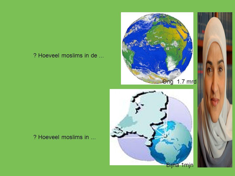 ? Hoeveel moslims in de... ? Hoeveel moslims in... Ong 1.7 mrd Bijna 1mjn