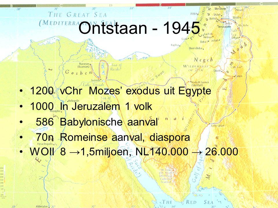 1200 vChr Mozes' exodus uit Egypte 1000 In Jeruzalem 1 volk 586 Babylonische aanval 70n Romeinse aanval, diaspora WOII 8 →1,5miljoen, NL140.000 → 26.0