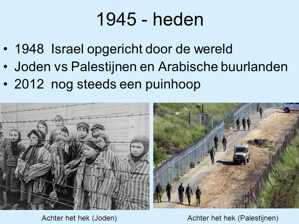 1945 - heden 1948 Israel opgericht door de wereld Joden vs Palestijnen en Arabische buurlanden 2012 nog steeds een puinhoop Achter het hek (Joden) Ach