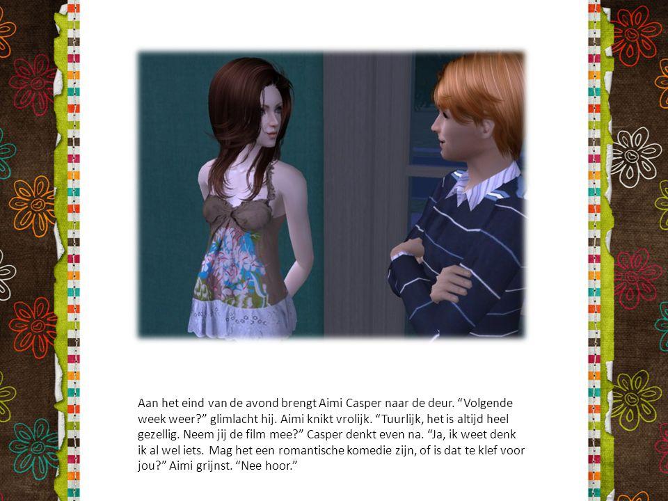 """Aan het eind van de avond brengt Aimi Casper naar de deur. """"Volgende week weer?"""" glimlacht hij. Aimi knikt vrolijk. """"Tuurlijk, het is altijd heel geze"""