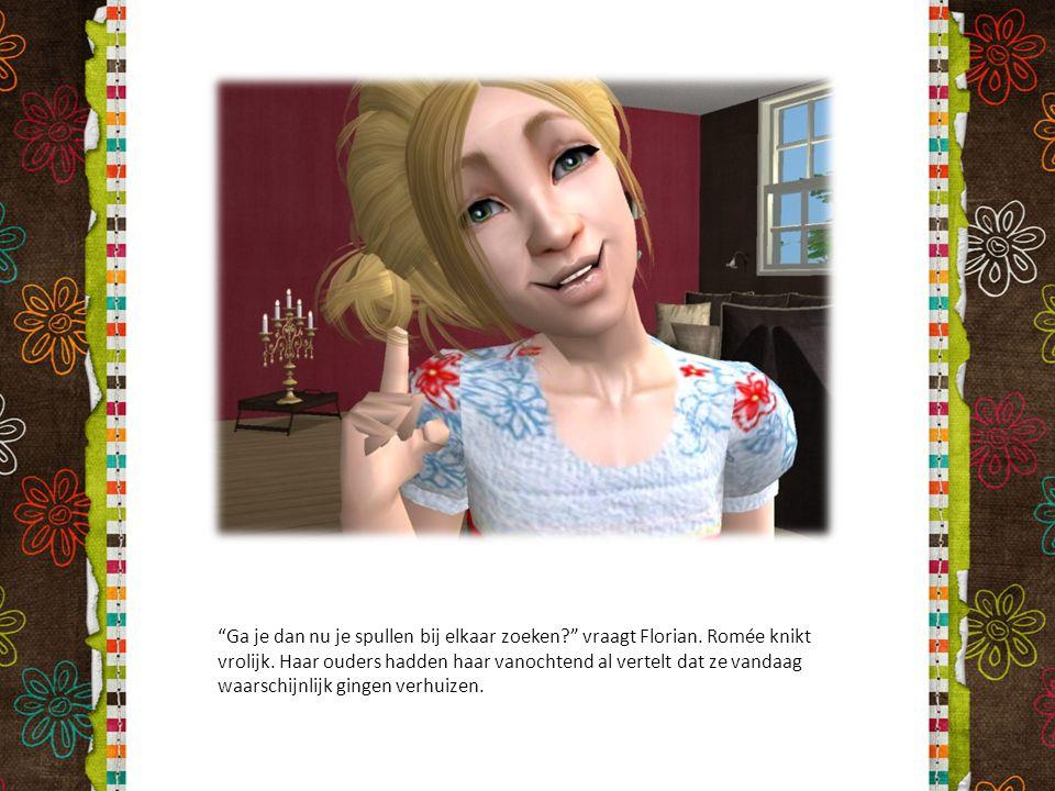 """""""Ga je dan nu je spullen bij elkaar zoeken?"""" vraagt Florian. Romée knikt vrolijk. Haar ouders hadden haar vanochtend al vertelt dat ze vandaag waarsch"""