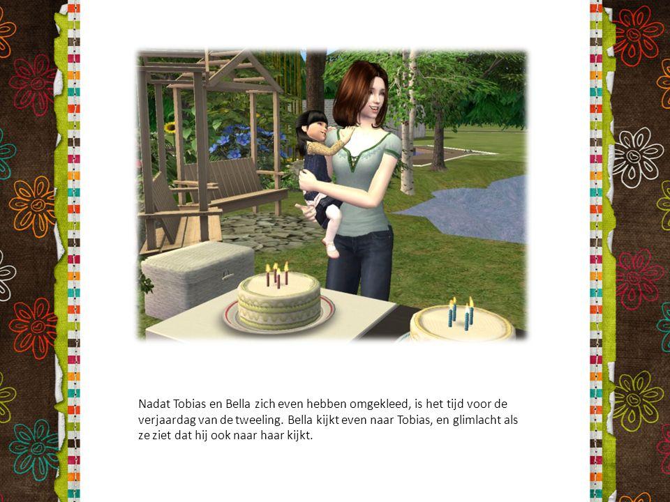 Nadat Tobias en Bella zich even hebben omgekleed, is het tijd voor de verjaardag van de tweeling. Bella kijkt even naar Tobias, en glimlacht als ze zi