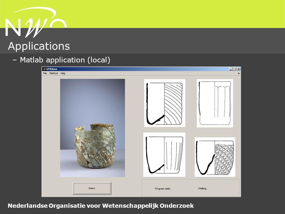 Nederlandse Organisatie voor Wetenschappelijk Onderzoek Applications –Matlab application (local)