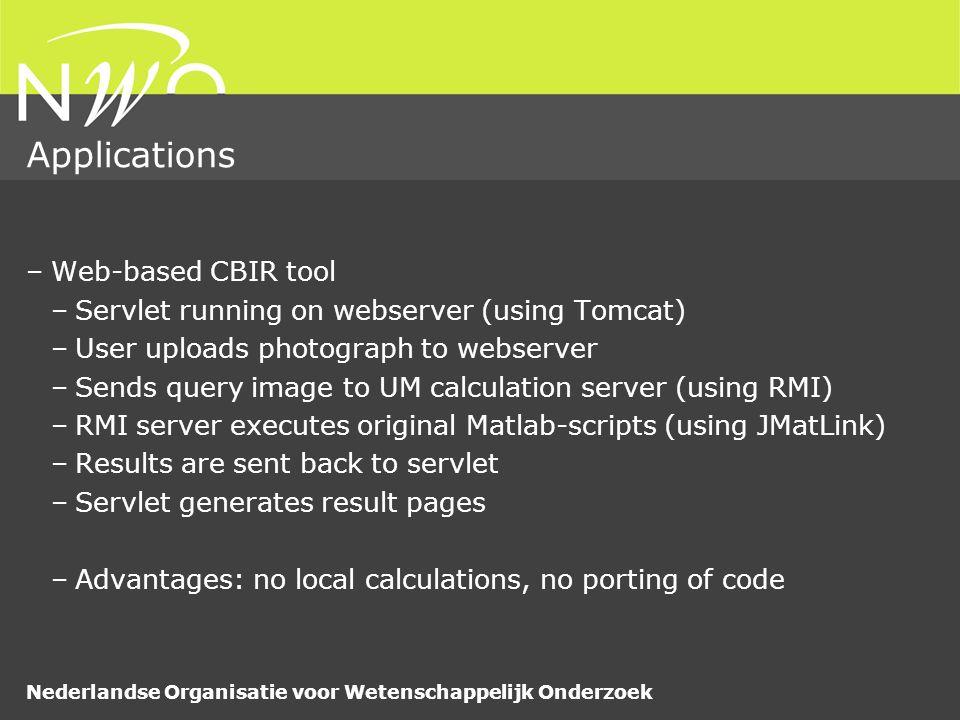 Nederlandse Organisatie voor Wetenschappelijk Onderzoek Applications –Web-based CBIR tool –Servlet running on webserver (using Tomcat) –User uploads p