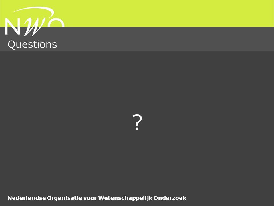 Nederlandse Organisatie voor Wetenschappelijk Onderzoek Questions ?