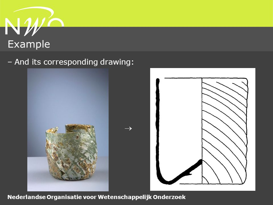 Nederlandse Organisatie voor Wetenschappelijk Onderzoek Conclusions –Matching glass artefacts with drawings is a difficult problem –Shape context matching outperforms (MPEG-7 standard) CSS matching –Allows for shape analysis of reference collection –Number of (preliminary) applications delivered –We expect shape matching to be usefull for flint data –Possible improvements: –Incorporating texture features –Design of shape matching methods for partial shape matching using closed contours