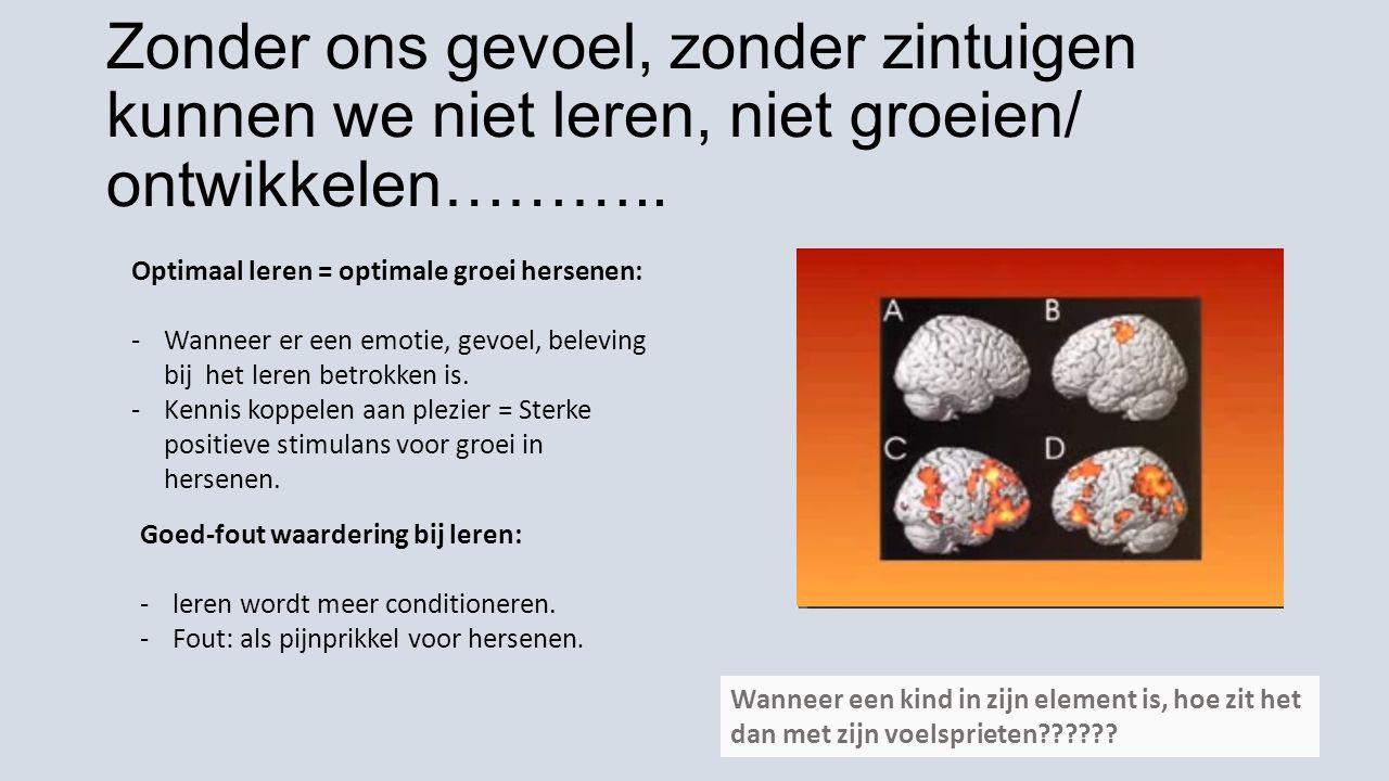 Zonder ons gevoel, zonder zintuigen kunnen we niet leren, niet groeien/ ontwikkelen……….. Optimaal leren = optimale groei hersenen: -Wanneer er een emo