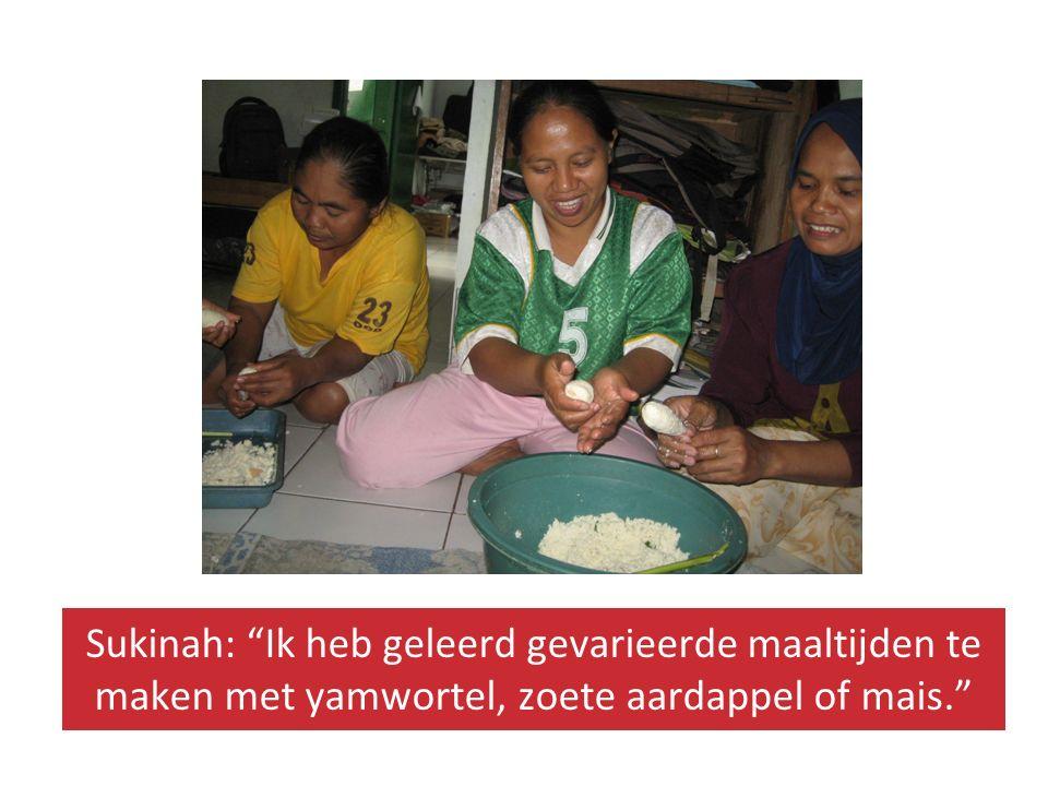 Sukinah: Ik heb geleerd gevarieerde maaltijden te maken met yamwortel, zoete aardappel of mais.