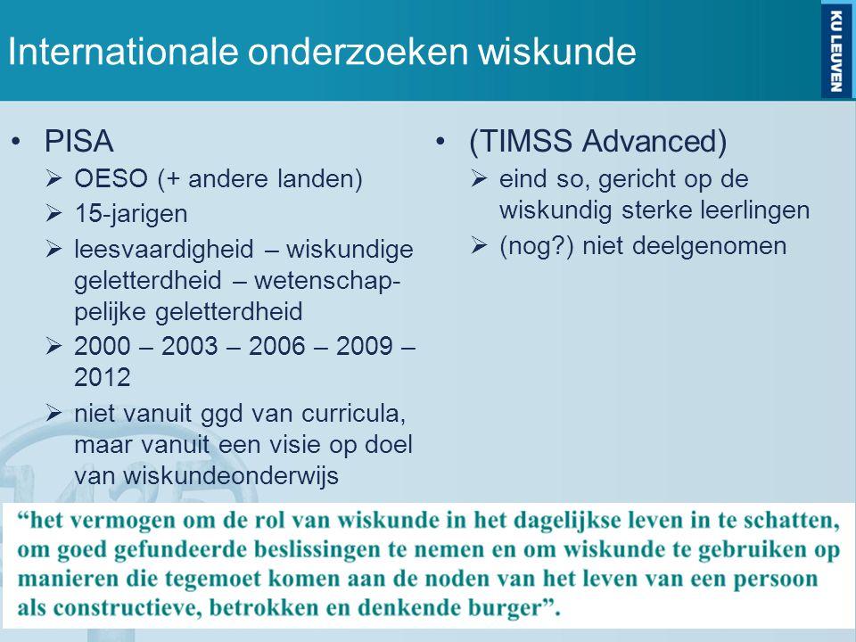 Internationale onderzoeken wiskunde PISA  OESO (+ andere landen)  15-jarigen  leesvaardigheid – wiskundige geletterdheid – wetenschap- pelijke geletterdheid  2000 – 2003 – 2006 – 2009 – 2012  niet vanuit ggd van curricula, maar vanuit een visie op doel van wiskundeonderwijs (TIMSS Advanced)  eind so, gericht op de wiskundig sterke leerlingen  (nog ) niet deelgenomen
