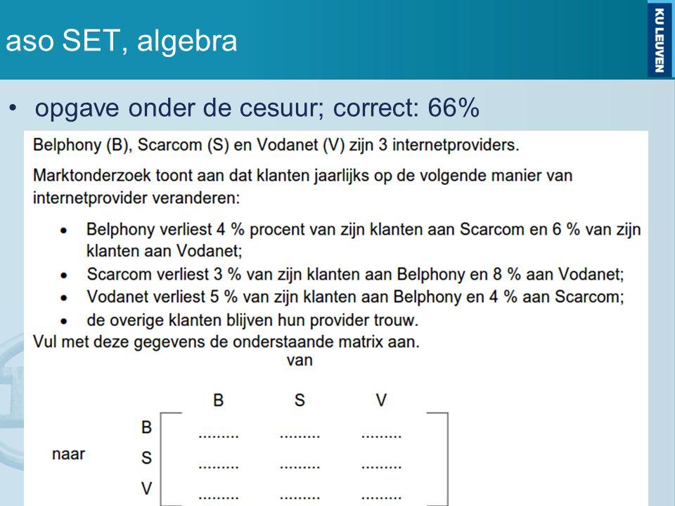 aso SET, algebra opgave onder de cesuur; correct: 66%