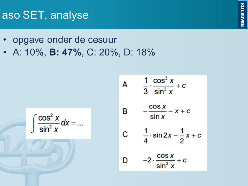 aso SET, analyse opgave onder de cesuur A: 10%, B: 47%, C: 20%, D: 18%