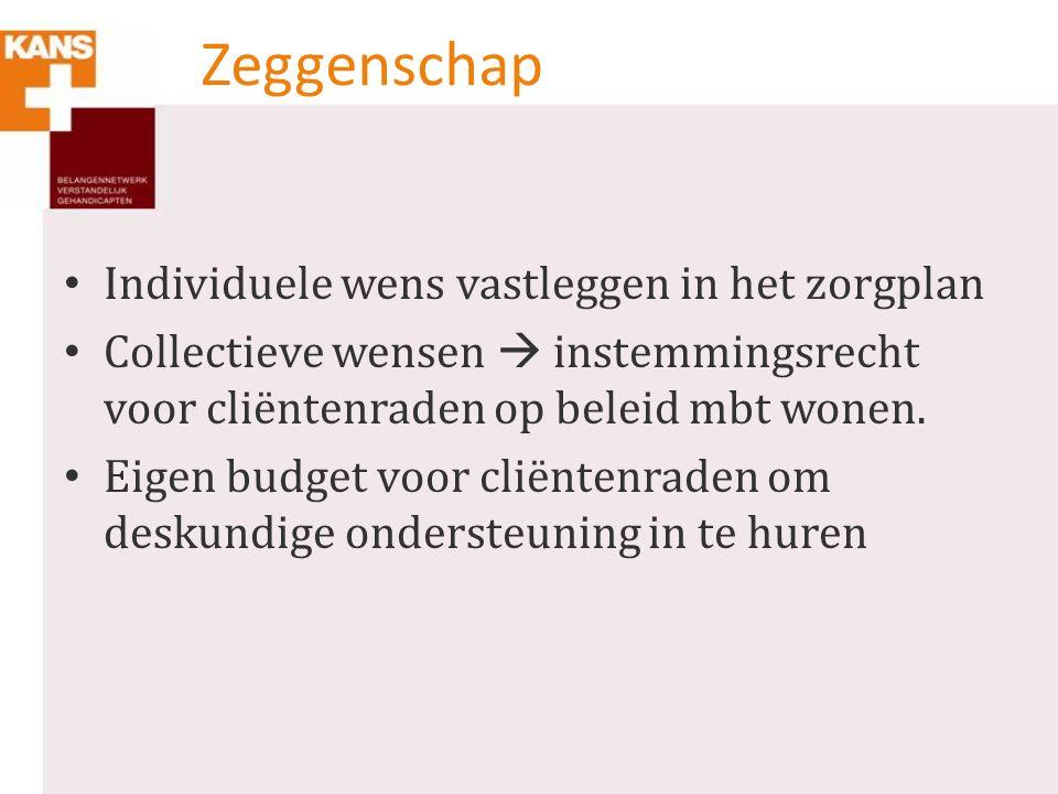 Zeggenschap Individuele wens vastleggen in het zorgplan Collectieve wensen  instemmingsrecht voor cliëntenraden op beleid mbt wonen.