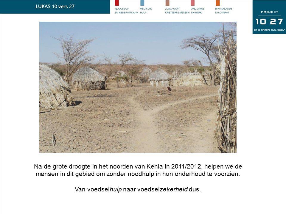 Na de grote droogte in het noorden van Kenia in 2011/2012, helpen we de mensen in dit gebied om zonder noodhulp in hun onderhoud te voorzien. Van voed