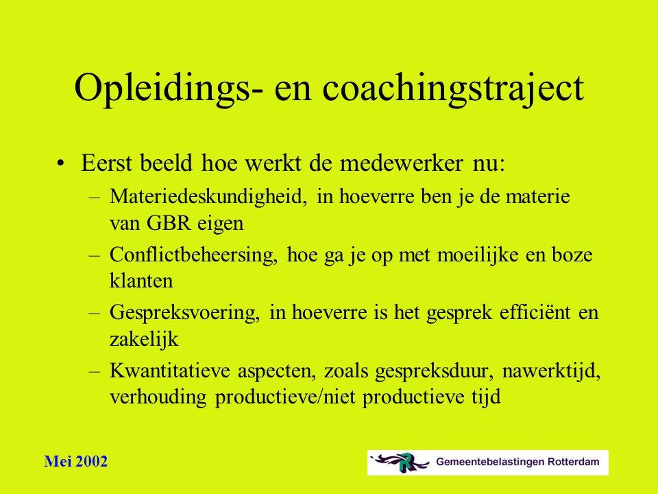 Mei 2002 Opleidings- en coachingstraject Eerst beeld hoe werkt de medewerker nu: –Materiedeskundigheid, in hoeverre ben je de materie van GBR eigen –C