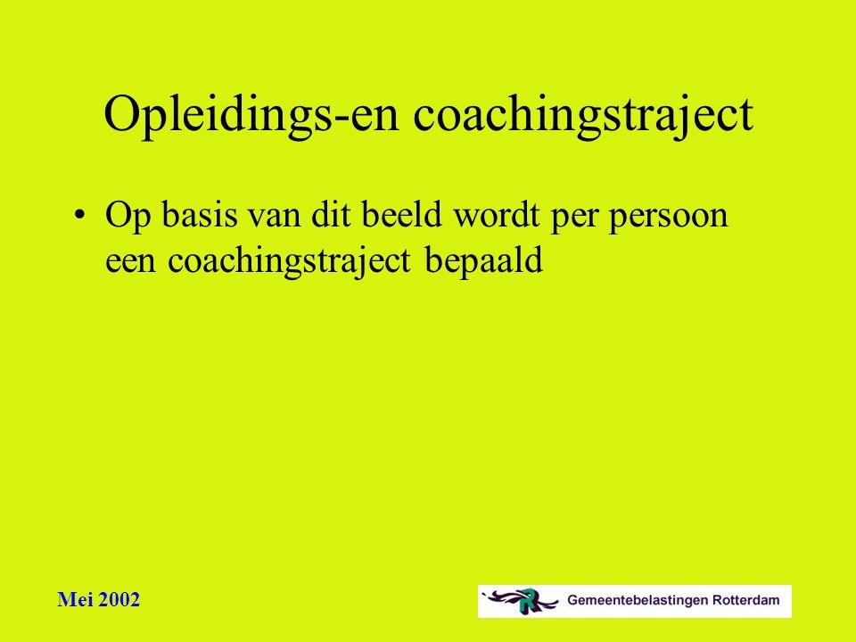 Mei 2002 Opleidings-en coachingstraject Op basis van dit beeld wordt per persoon een coachingstraject bepaald