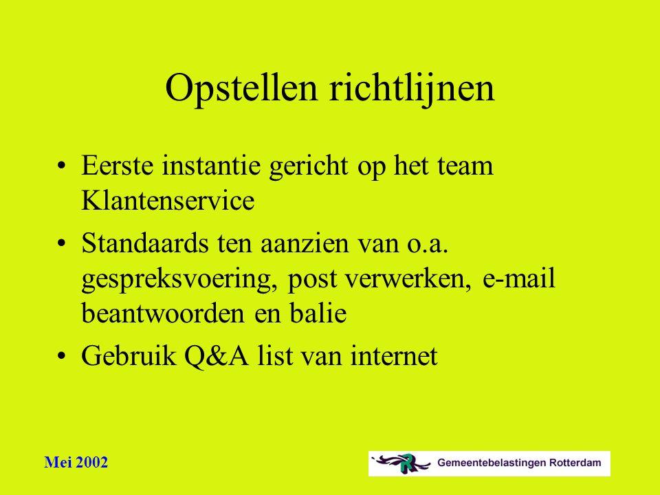 Mei 2002 Opstellen richtlijnen Eerste instantie gericht op het team Klantenservice Standaards ten aanzien van o.a. gespreksvoering, post verwerken, e-