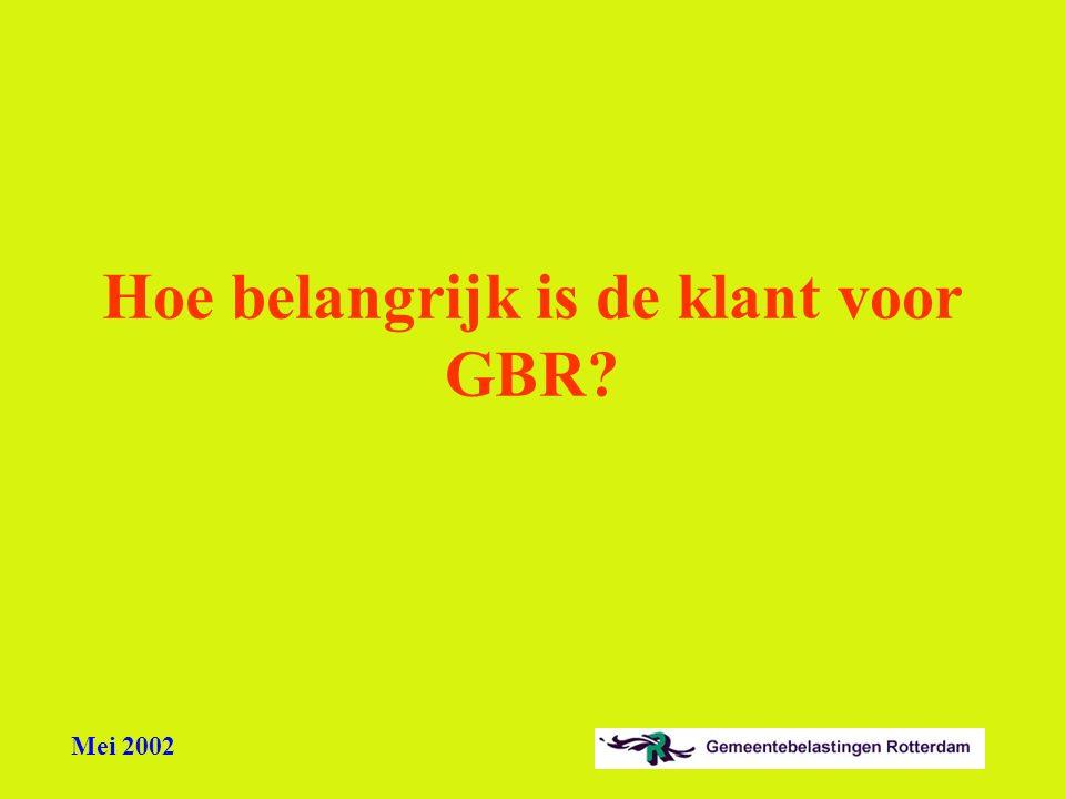 Mei 2002 Hoe belangrijk is de klant voor GBR?
