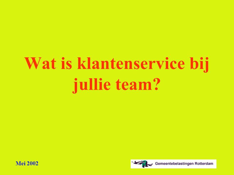Mei 2002 Wat is klantenservice bij jullie team?