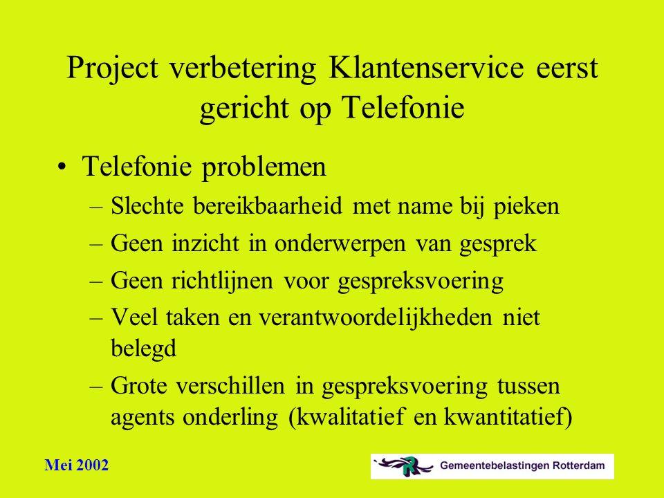 Mei 2002 Project verbetering Klantenservice eerst gericht op Telefonie Telefonie problemen –Slechte bereikbaarheid met name bij pieken –Geen inzicht i