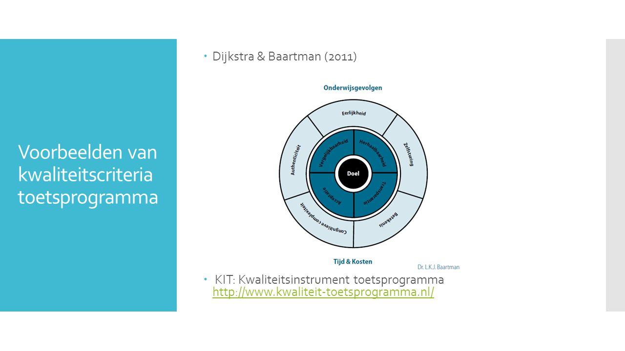 Voorbeelden van kwaliteitscriteria toetsprogramma  Dijkstra & Baartman (2011)  KIT: Kwaliteitsinstrument toetsprogramma http://www.kwaliteit-toetspr
