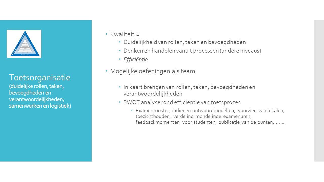 Toetsorganisatie (duidelijke rollen, taken, bevoegdheden en verantwoordelijkheden; samenwerken en logistiek)  Kwaliteit =  Duidelijkheid van rollen,
