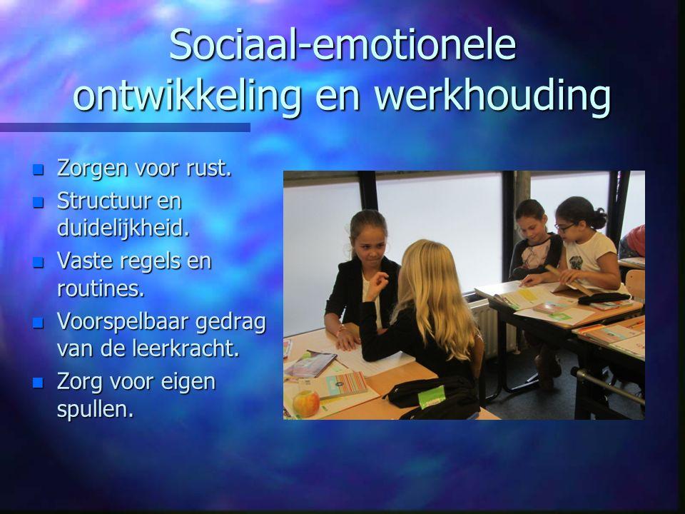 Sociaal-emotionele ontwikkeling en werkhouding n Zorgen voor rust. n Structuur en duidelijkheid. n Vaste regels en routines. n Voorspelbaar gedrag van