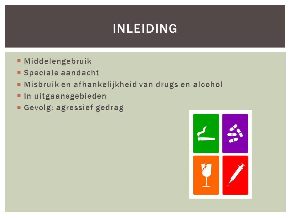  Middelengebruik  Speciale aandacht  Misbruik en afhankelijkheid van drugs en alcohol  In uitgaansgebieden  Gevolg: agressief gedrag INLEIDING